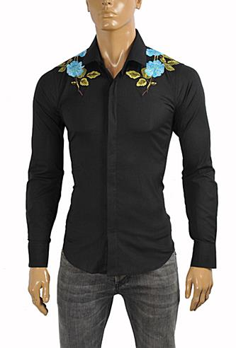 Mens Designer Clothes | GUCCI Men's Cotton Duke Embroidered Shirt with Flowers #366