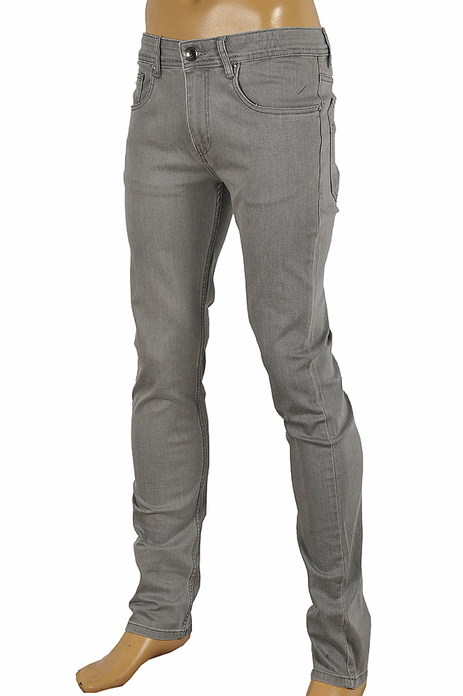 Mens Designer Clothes | GUCCI Men's fitted stretch jeans with metal batch #95