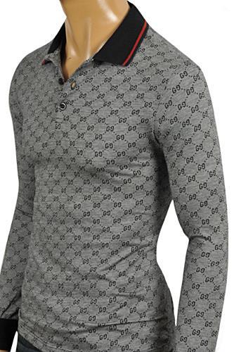 Mens designer clothes gucci men 39 s long sleeve polo shirt for Long sleeve polo shirts for men sale