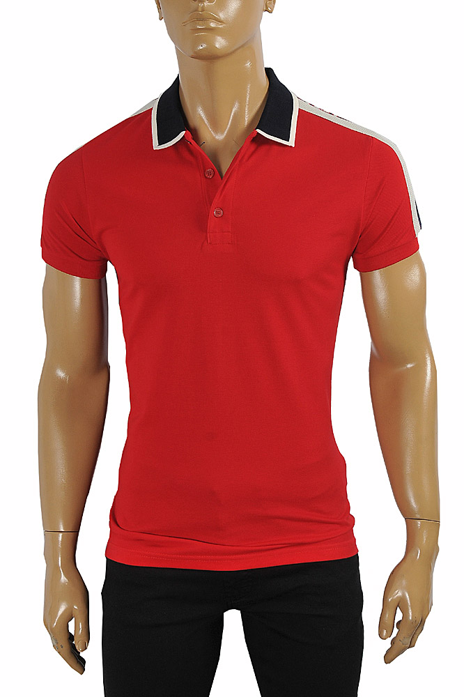Mens Designer Clothes | GUCCI men's cotton polo with GUCCI stripe in red color #382
