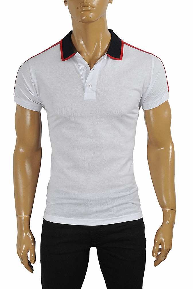 Mens Designer Clothes | GUCCI men's cotton polo with GUCCI stripe in white color #383