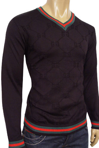 Mens Designer Clothes | GUCCI Mens V-Neck Fitted Sweater #20