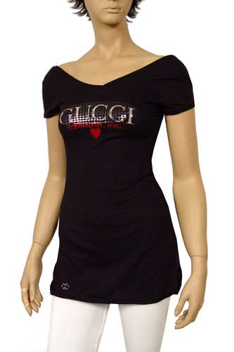 Womens Designer Clothes | GUCCI Ladies Open Back Short Sleeve Top #29
