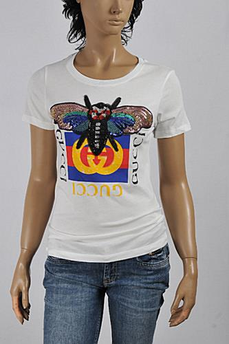 Womens Designer Clothes | GUCCI Women's Bee embroidered cotton t-shirt #225