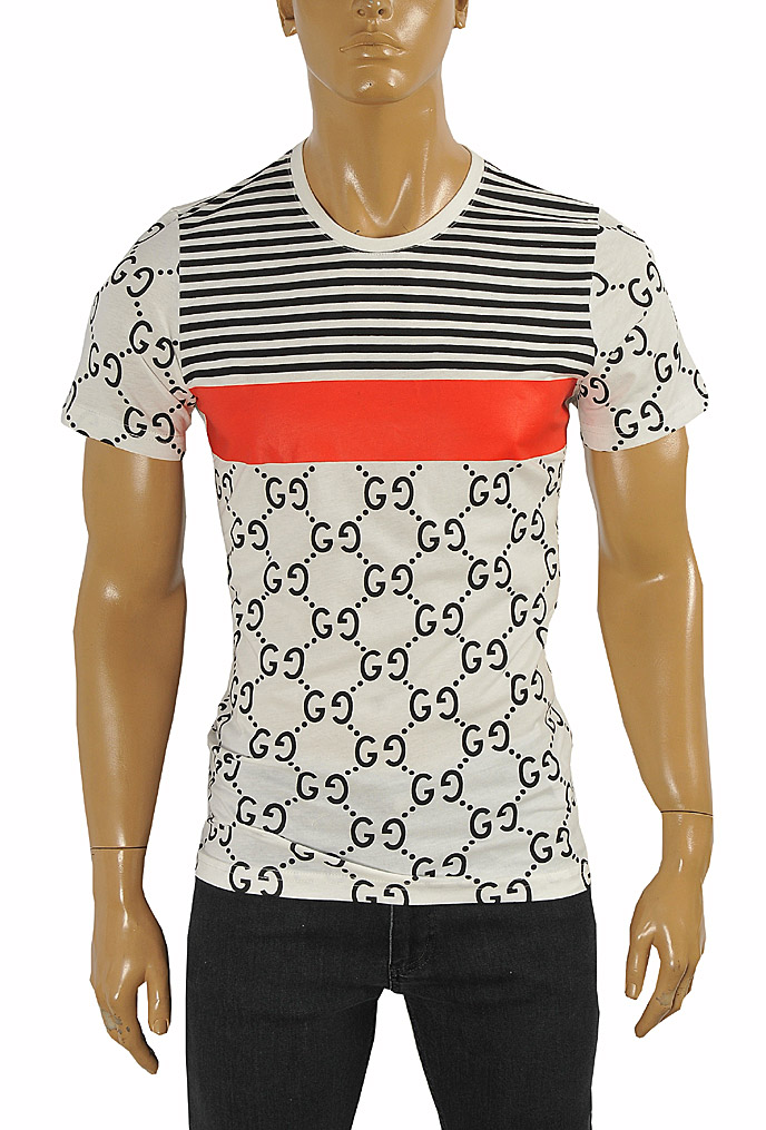 Mens Designer Clothes | GUCCI cotton T-shirt with GG print #235