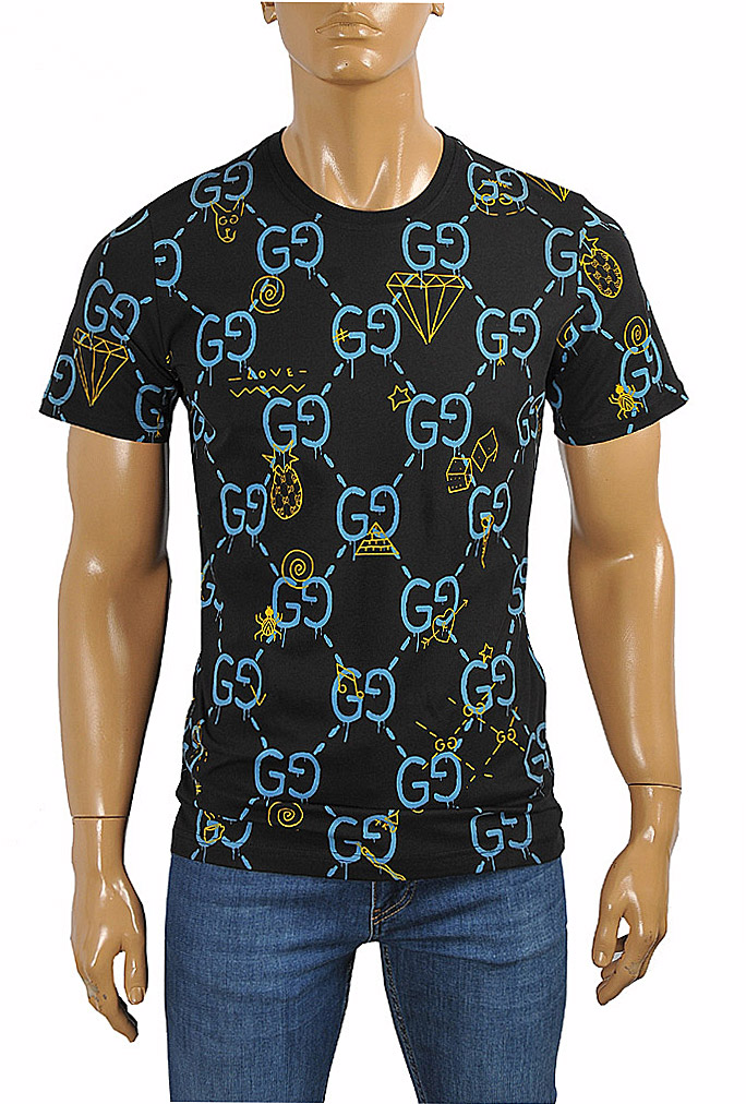 Mens Designer Clothes | GUCCI cotton T-shirt with GG print in navy blue #242
