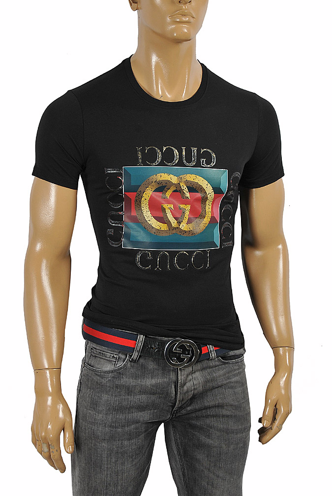 Mens Designer Clothes | GUCCI front print cotton T-Shirt #243