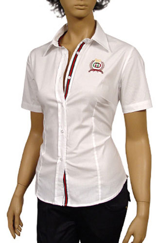 Womens Designer Clothes | GUCCI Ladies Dress Shirt With Short Sleeve #93