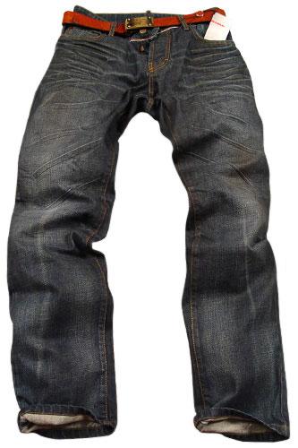 Mens Designer Clothes | PRADA Mens Crinkled Jeans With Belt #11