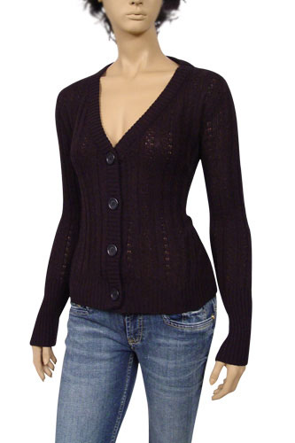 Designer Clothes | PRADA Ladies V-Neck Button Up Sweater #8