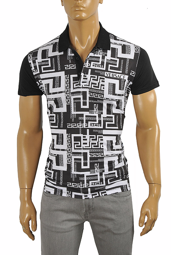 Mens Designer Clothes | VERSACE men's polo shirt with front print #175