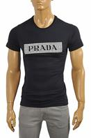 PRADA Men's cotton T-shirt with print in navy blue #105