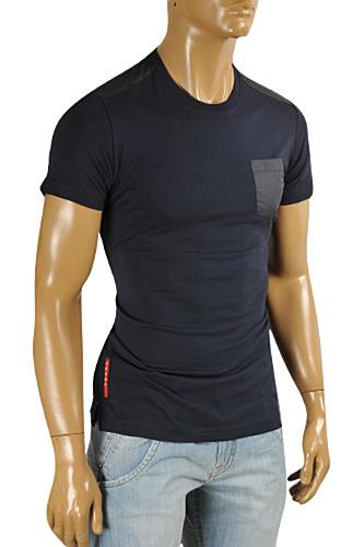 PRADA Men's Short Sleeve Fitted Tee In Navy Blue #90
