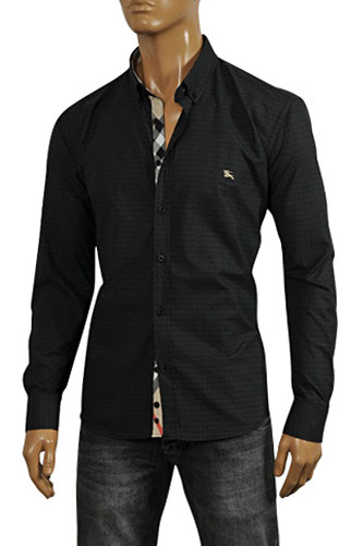 BURBERRY Men's Button Up Dress Shirt In Black #137