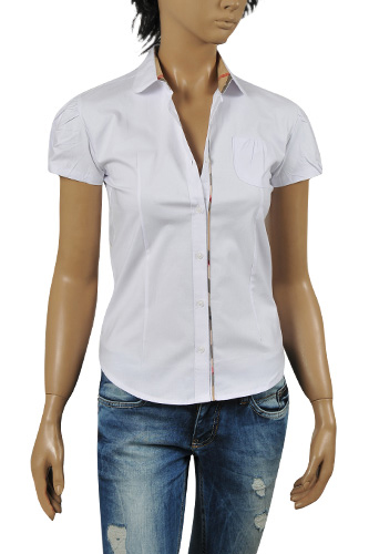 BURBERRY Ladies' Short Sleeve Button Up Shirt #153