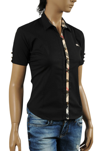 BURBERRY Ladies' Short Sleeve Button Up Shirt #154