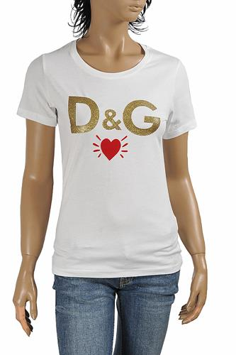 DOLCE & GABBANA women's cotton t-shirt with front print logo 261
