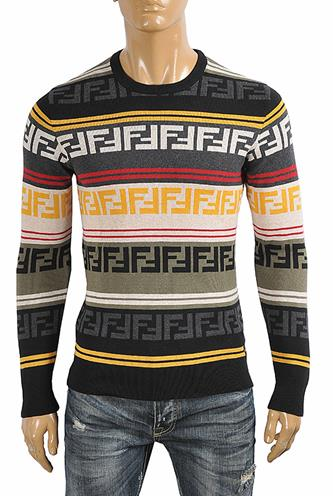 FENDI men's round neck FF print sweater 33