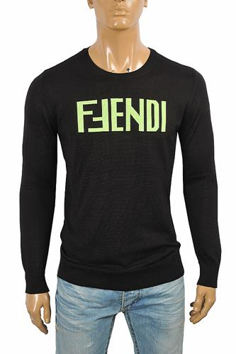FENDI men's round neck front print sweater 56