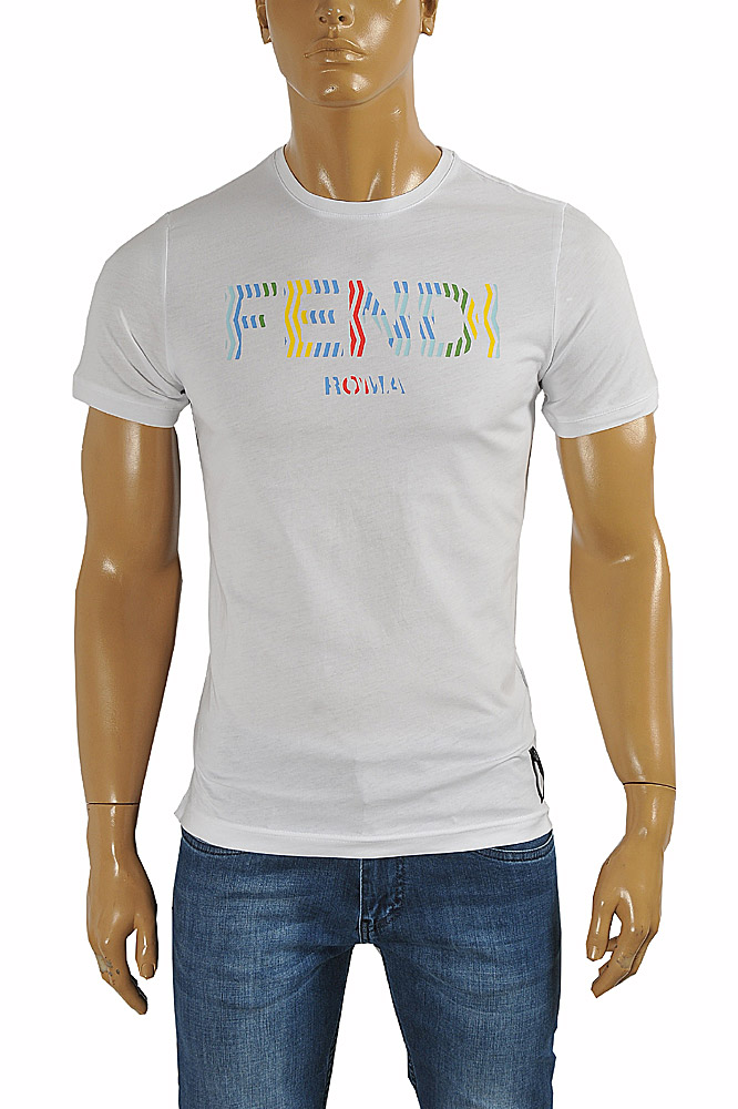 FENDI men's cotton T-shirt with front print #23