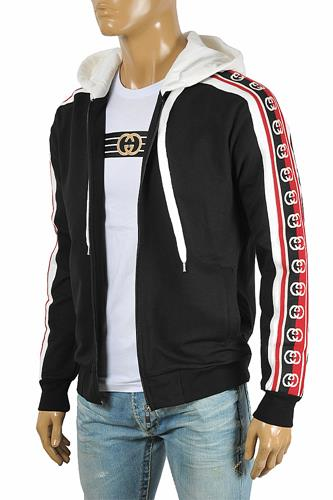 GUCCI men's cotton hoodie with signature stripes 179