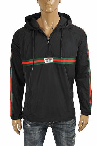 GUCCI men's cotton hoodie with red and green stripes 182