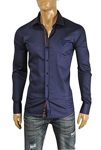 570936092920 Mens Designer Clothes | GUCCI Men's Navy Blue Dress Shirt #329 View 1