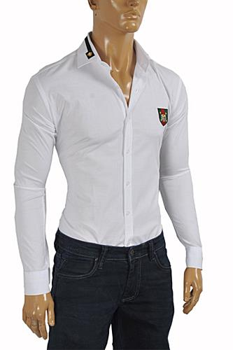 GUCCI Men's Button Front Dress Shirt in White #361