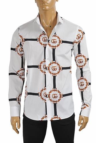 GUCCI men's dress shirt with logo print 408