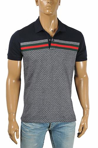 GUCCI men's cotton polo with signature red and green stripe 406
