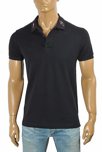 GUCCI Men's cotton polo with Kingsnake embroidery 411