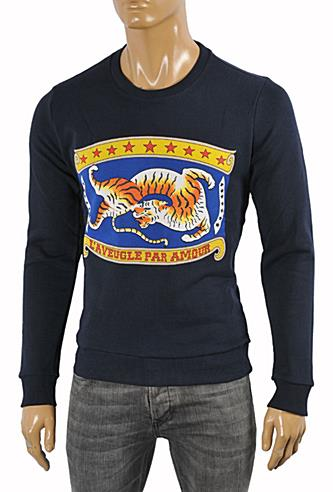 GUCCI men's cotton sweatshirt with front tiger print #360