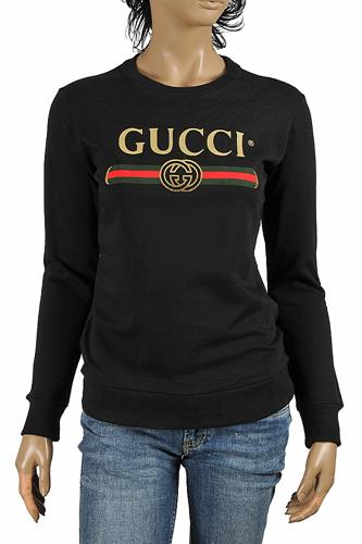 GUCCI women's cotton sweatshirt with front logo print 112