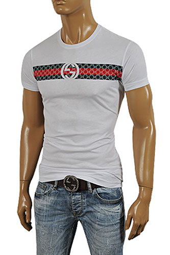 8ab82c53 Mens Designer Clothes | GUCCI Men's Short Sleeve Tee In White #162 View 1