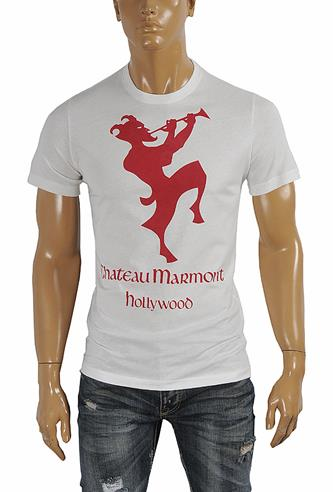 GUCCI cotton T-shirt with front and back print in white 261
