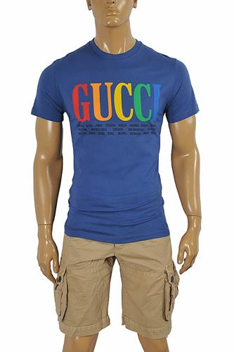 GUCCI cotton T-shirt with front print in royal blue color 263