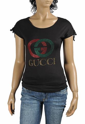 GUCCI women's t-shirt with GG logo appliqué 266