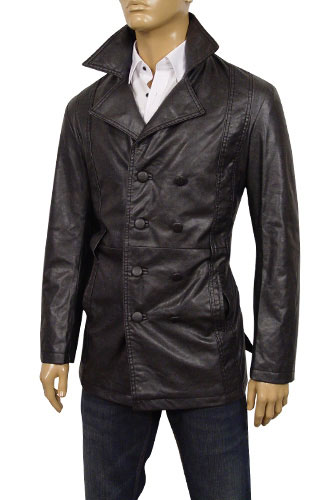 Mens Designer Clothes | EMPORIO ARMANI Mens Button Up Artificial Leather Jacket #71