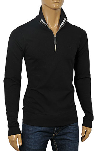 Mens Designer Clothes | ARMANI JEANS Men's Zip Up Cotton Shirt In Black #226