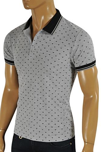 Mens Designer Clothes | This ARMANI JEANS Men's Polo Shirt in gray color. Each piece of