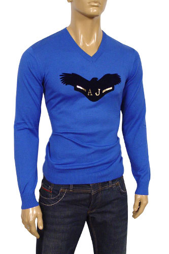 Mens Designer Clothes | ARMANI JEANS Mens V-Neck Fitted Sweater #107