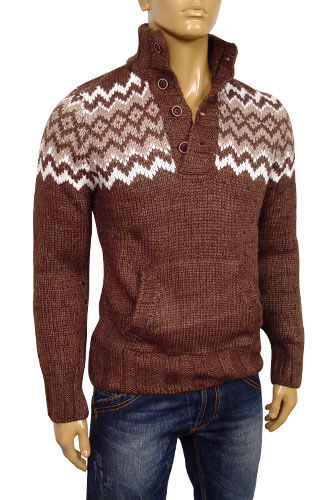 Mens Designer Clothes | EMPORIO ARMANI Mens Polo Style Warm Sweater #115