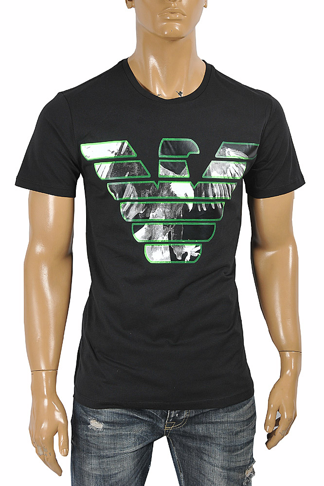 Mens Designer Clothes | EMPORIO ARMANI Men's T-Shirt With Front Logo Print