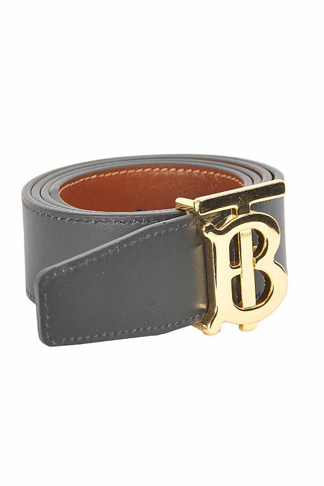 Mens Designer Clothes | BURBERRY men's reversible leather belt, black/brown color 65