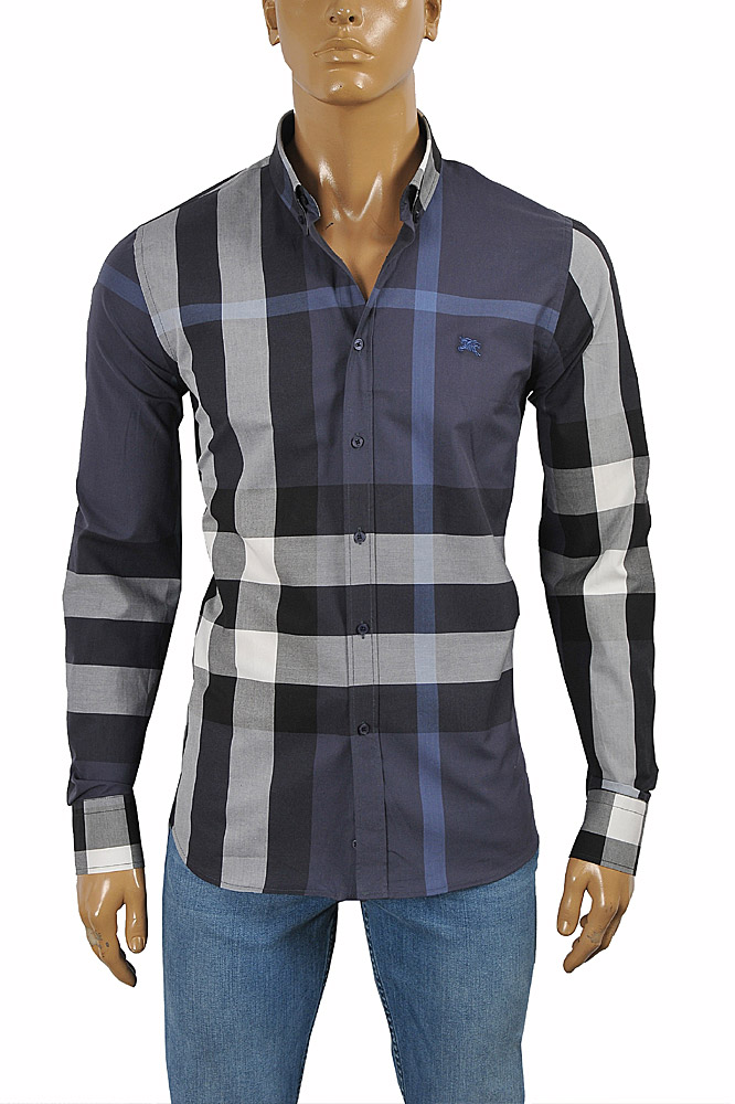 Mens Designer Clothes | BURBERRY Men's Long Sleeve Dress Shirt 245