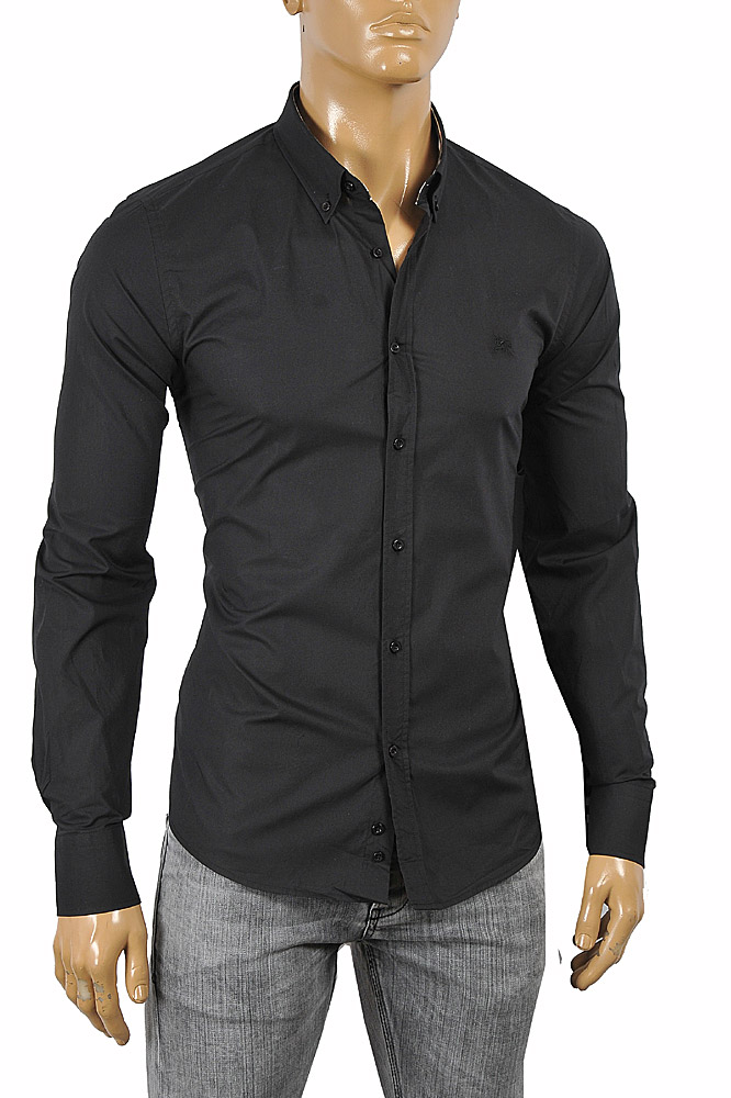 Mens Designer Clothes | BURBERRY Men's Long Sleeve Dress Shirt In Black 246