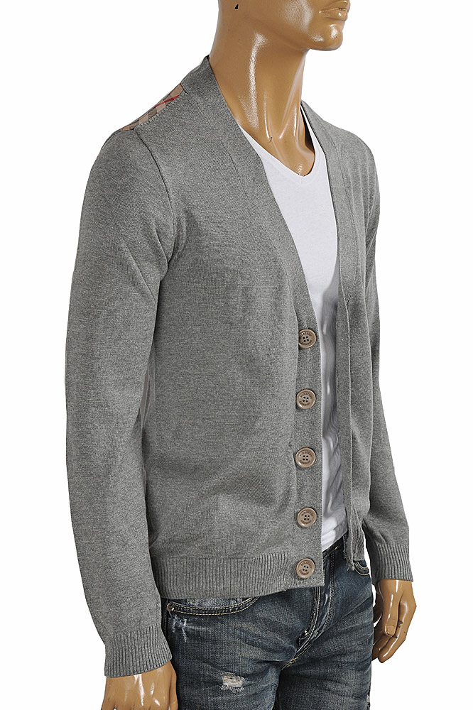 Mens Designer Clothes | BURBERRY men cardigan button down sweater in gray color 267