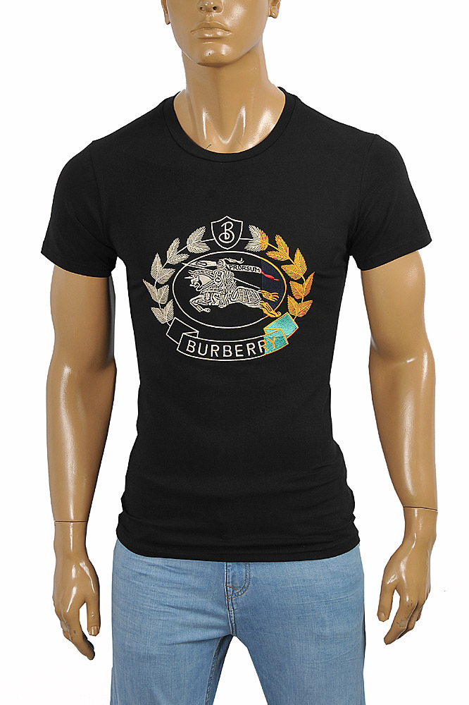 Mens Designer Clothes | BURBERRY Men's Cotton T-Shirt In Black With Front Embroidery 255