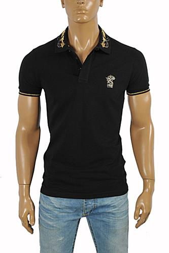 Mens Designer Clothes | CAVALLI CLASS men's polo shirt with collar embroidery #371