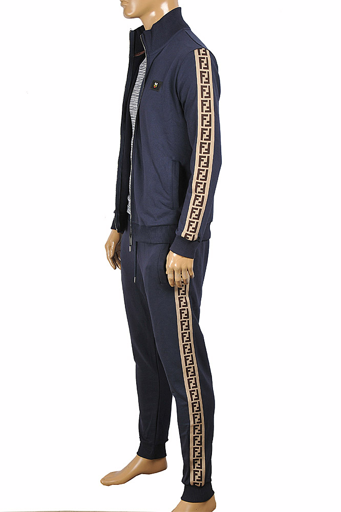 Mens Designer Clothes | FENDI Men's Tracksuit In Navy Blue 4